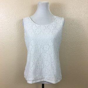 212 Collection white sleeveless blouse sz L